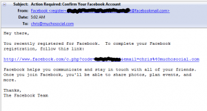 Confirm your Facebook account